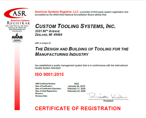 ISO 9001 Certified Tool and Die Makers